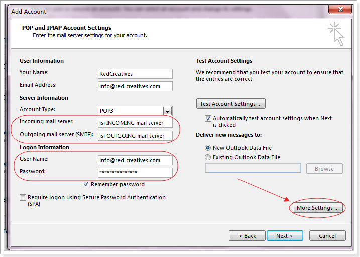 setting email di outlook 2013