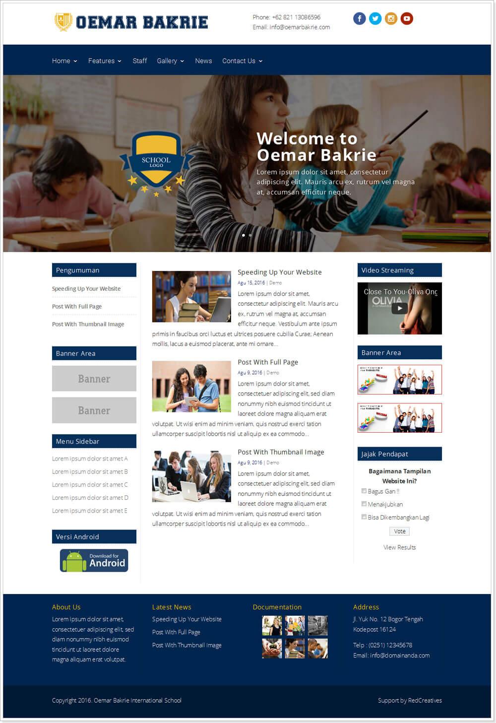 template website sekolah gratis, jasa pembuatan website sekolah